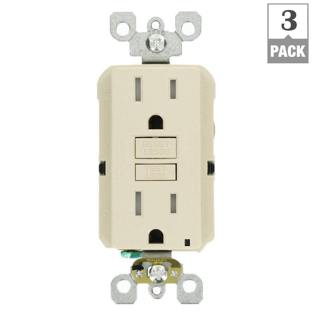 Leviton 15 Amp 125-Volt Duplex SmarTest Self-Test SmartlockPro Tamper Resistant GFCI Outlet, Light Almond (3-Pack)