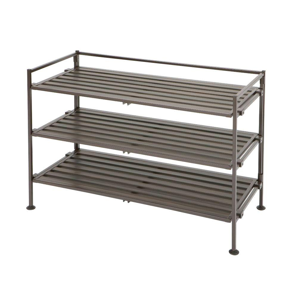 Seville 9-Pair Resin Slatted Shoe Rack, Brown