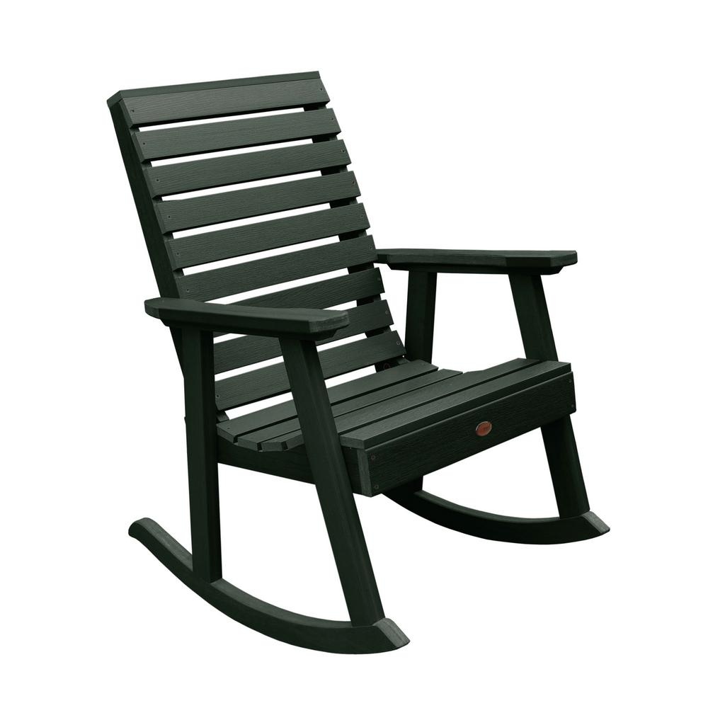 Highwood Weatherly Charleston Green Recycled Plastic Outdoor Rocking Chair