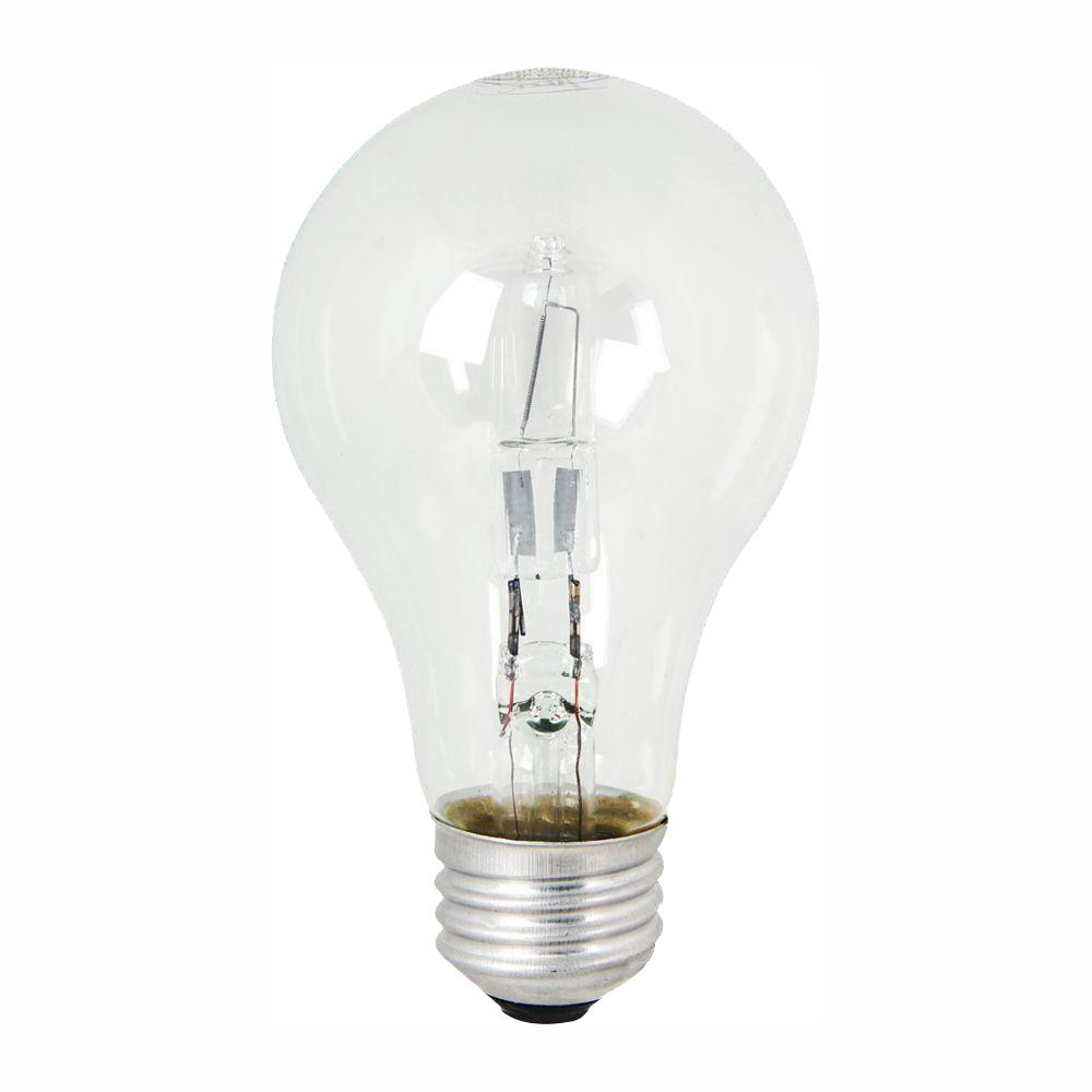Feit Electric 53-Watt Equivalent Warm White (3000K) A19 Dimmable Energy Saver Halogen Clear Light Bulb (48-Pack)