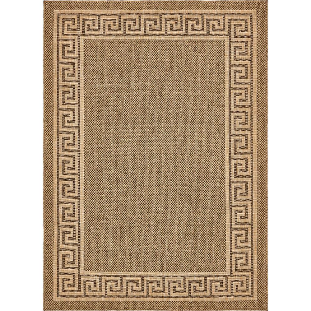 Unique Loom Outdoor Greek Key Brown 8' 0 x 11' 4 Area Rug