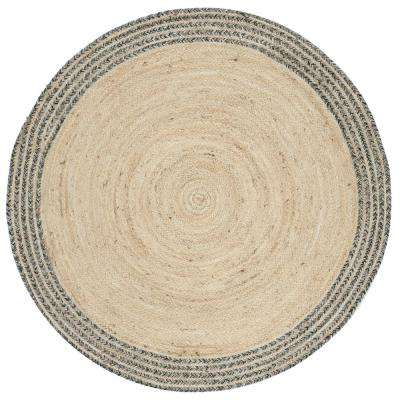 Cape Cod Ivory/Steel Gray 4 ft. x 4 ft. Round Area Rug