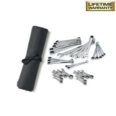 SAE/MM Ratcheting Wrench Set with Stubby and Pouch (30-Piece)