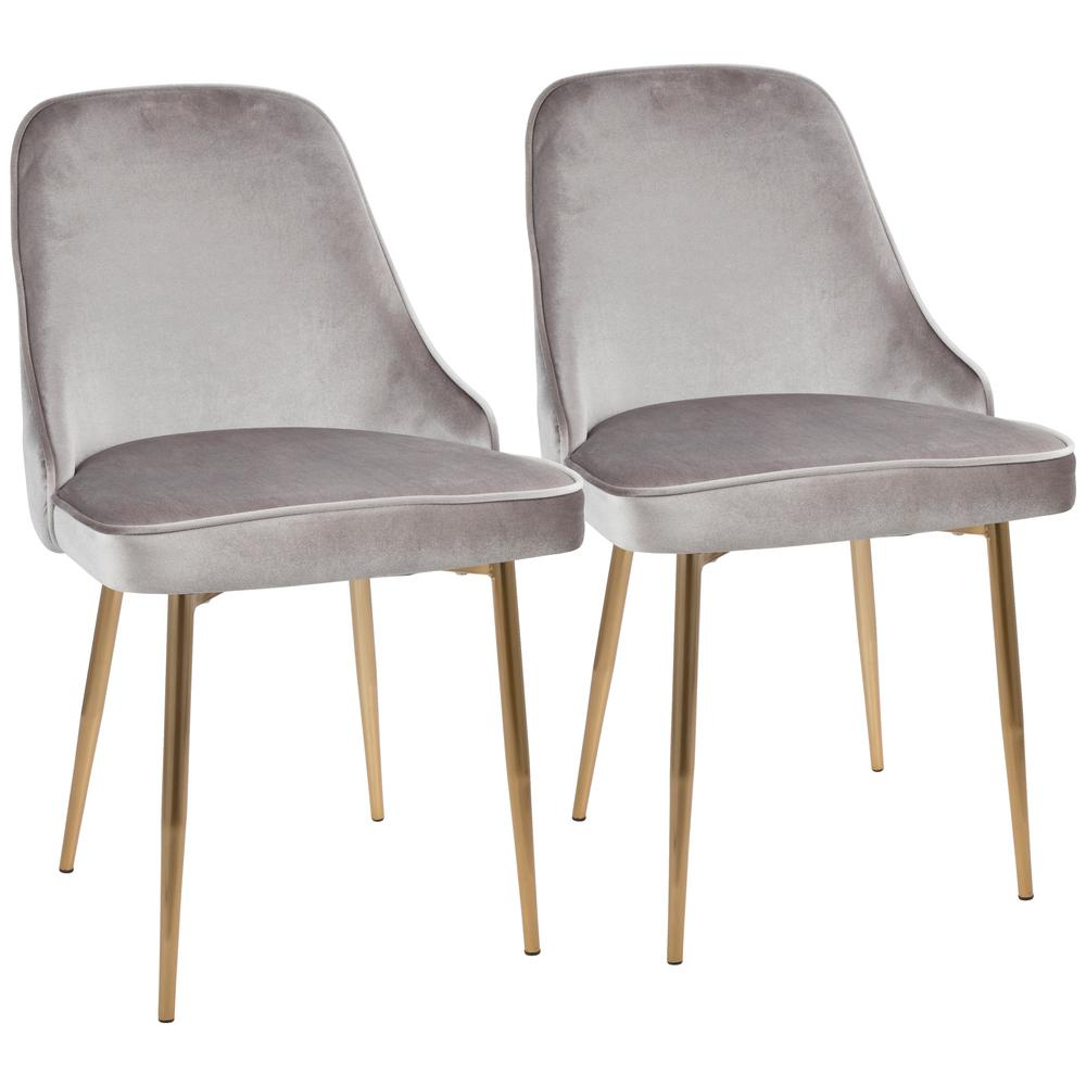 Lumisource gold and silver marcel velvet dining chair set of 2