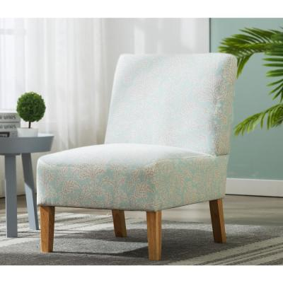 Blue Flower Modern Fabric Armless Accent Chair with Natural Wood Legs