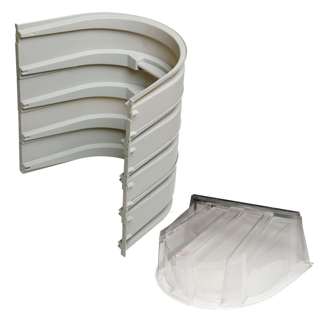 5600 4-Sections 092 Gray Egress Well with Polycarbonate Dome Cover Bundle