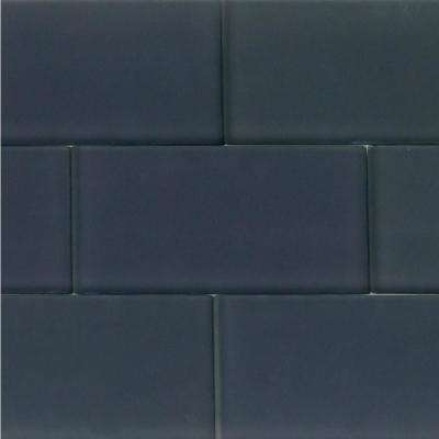 Contempo Smoke Gray 3 in. x 6 in. x 8 mm Frosted Glass Floor and Wall Tile