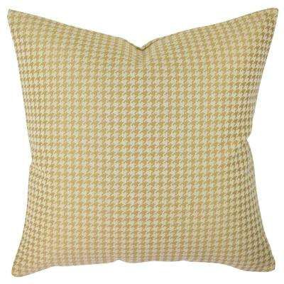 Gold Houndstooth Woven Throw Pillow