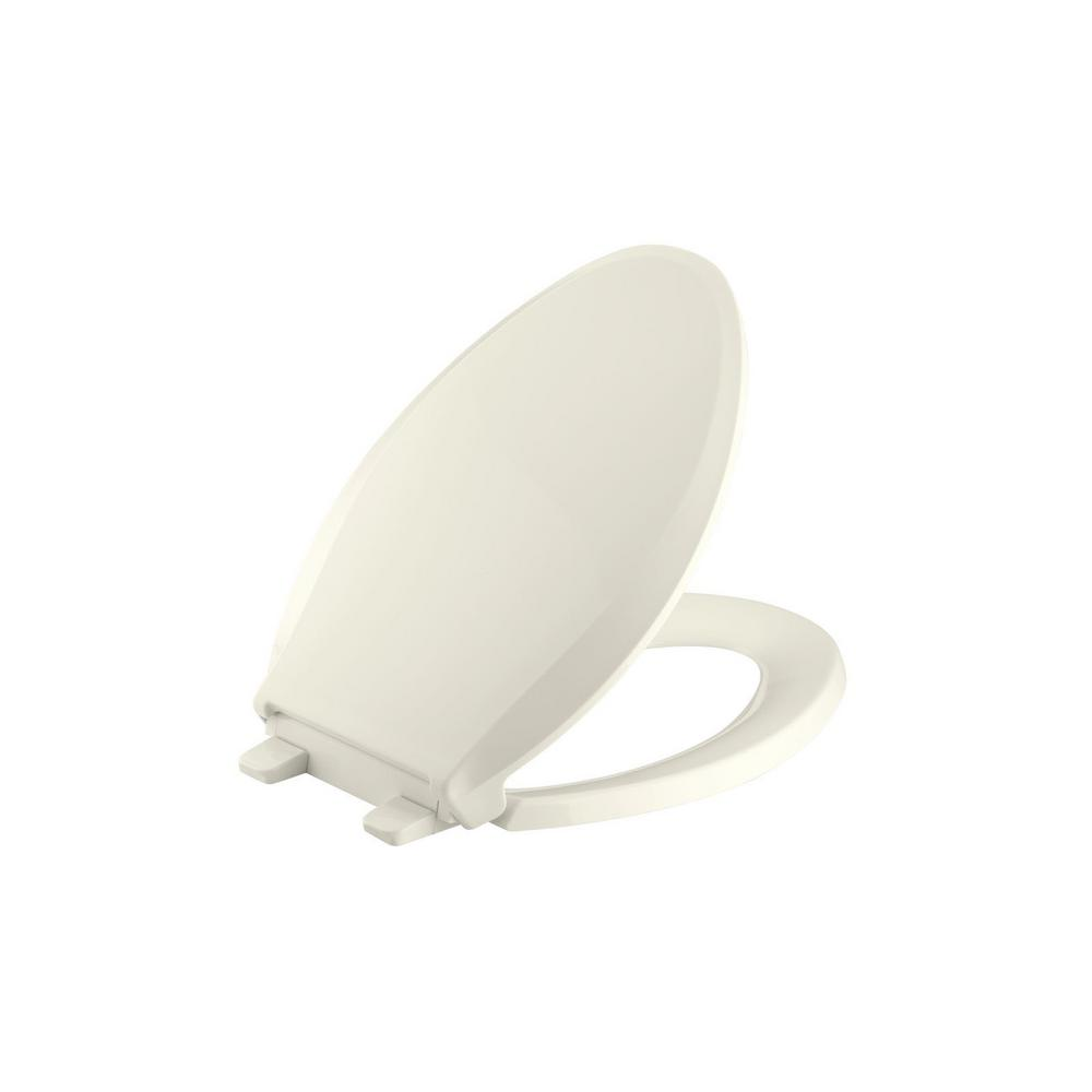 KOHLER Cachet Elongated Closed Front Toilet Seat in Biscuit