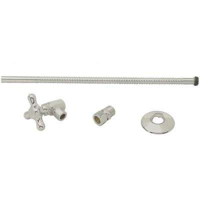 Toilet Kit with Angle Stop and Corrugated Riser with Cross Handle in Satin Nickel