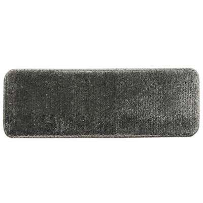 Sweethome Stores Luxury Collection Gray 9 in. x 26 in. Rubber Back Shaggy Stair Tread Cover (Set of 7)