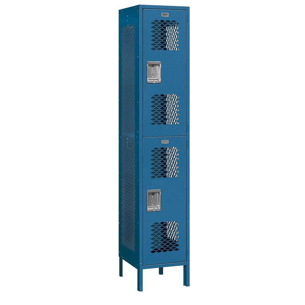 Salsbury Industries 82000 Series 15 in. W x 78 in. H x 18 in. D 2-Tier Extra Wide Vented Metal Locker Assembled in Blue