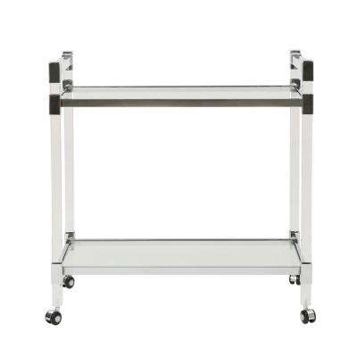 Mirren Modern Clear Glass 2-Tier Bar Trolley with Acrylic and Metal Frame