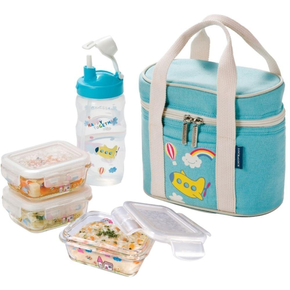 Lock and Lock Glass Baby Lunch Box Set Blue-DISCONTINUED