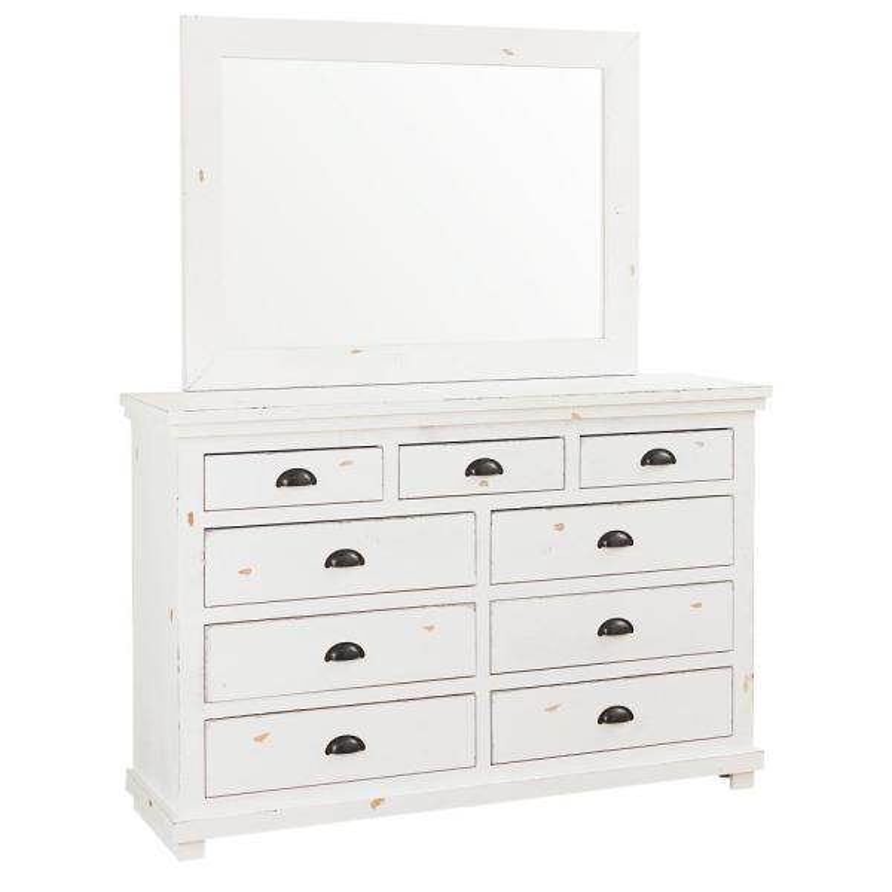 Progressive Furniture Willow 9-Drawer Distressed White Dresser with Mirror