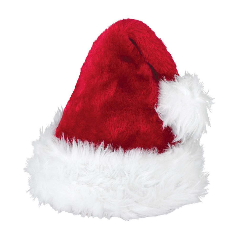 15 in. x 11 in. Santa Christmas Deluxe Hat (2-Pack)