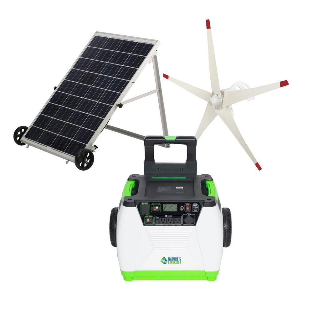1800-Watt Solar Powered Electric Start Portable Generator with Wind Turbine