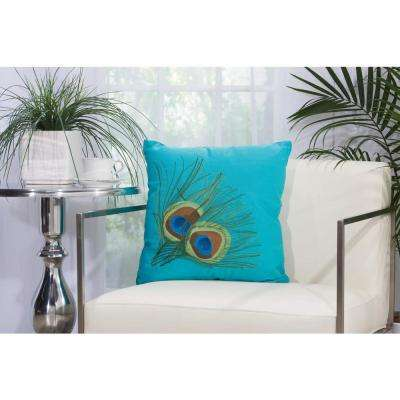 Peacock Feathers 18 in. x 18 in. Turquoise Indoor and Outdoor Pillow