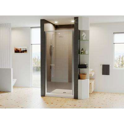 Legend 27.625 in. to 28.625 in. x 64 in. Framed Hinged Shower Door in Chrome with Clear Glass