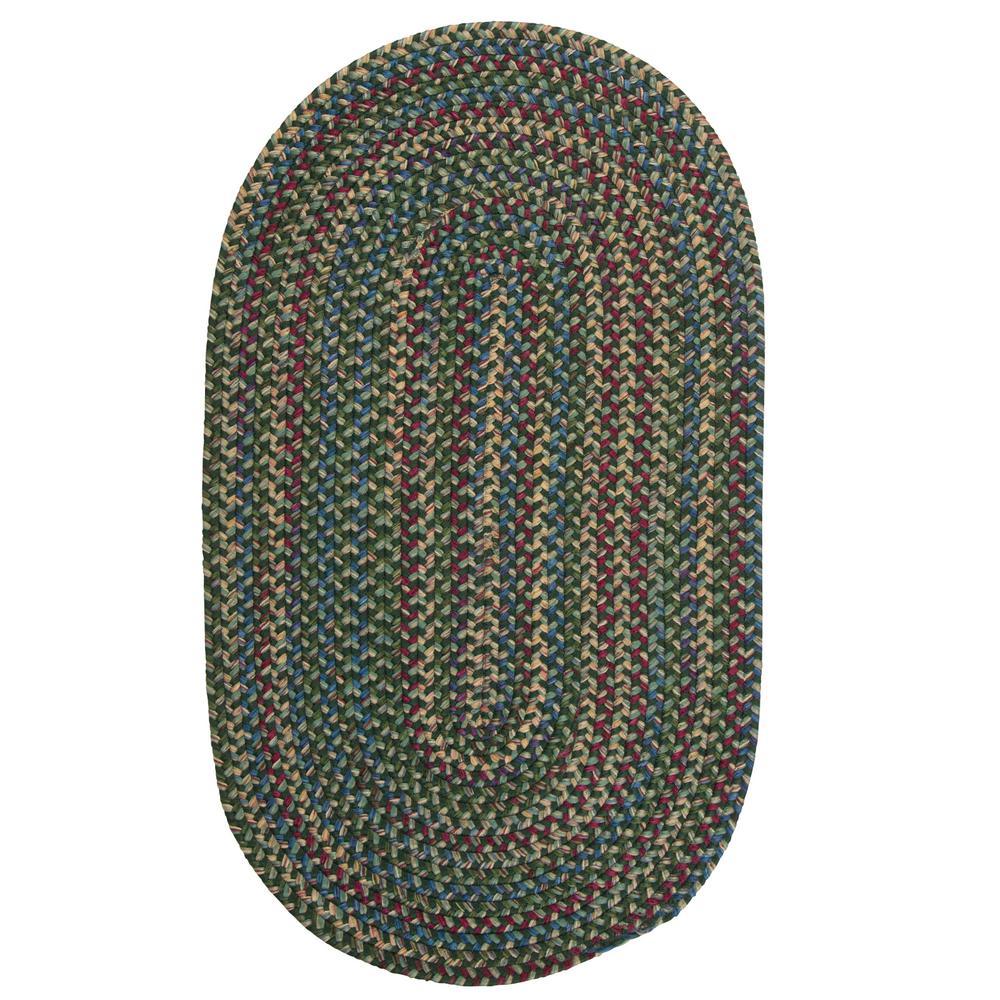 Millwork Green 9 ft. x 12 ft. Tweed Indoor Oval Area Rug