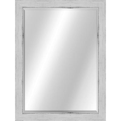 Transitional 22 x 28 Rustic White with Silver Framed Vanity Mirror