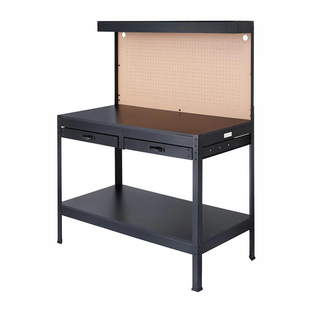 Stupendous Olympia 4 Ft W X 5 Ft H X 2 Ft D Black Steel Workbench With Built In Power And Lighting Pabps2019 Chair Design Images Pabps2019Com