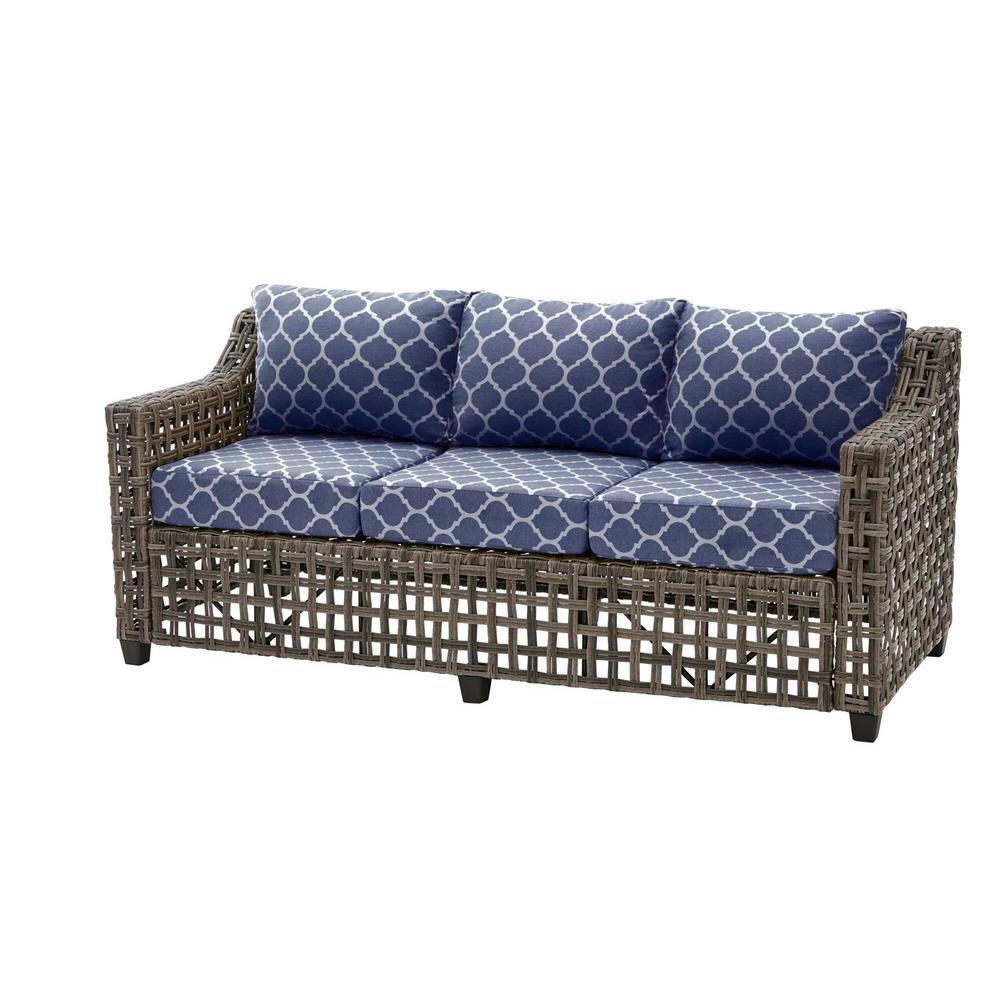 Briar Ridge Brown Wicker Outdoor Patio Sofa with CushionGuard Midnight Trellis Navy Blue Cushions