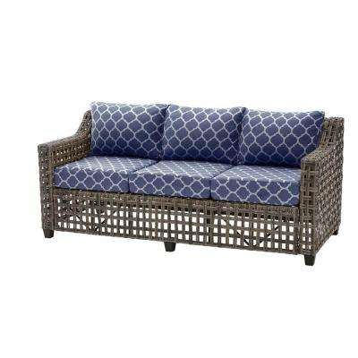 Briar Ridge Brown Wicker Outdoor Patio Sofa with CushionGuard Midnight Trellis Navy Blue Cushions