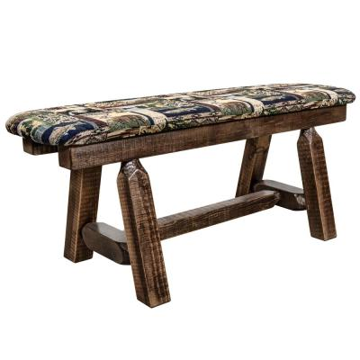 Homestead Collection 18 in. H Brown Wooden Bench with Woodland Pattern Upholstered Seat, 45 in. Length