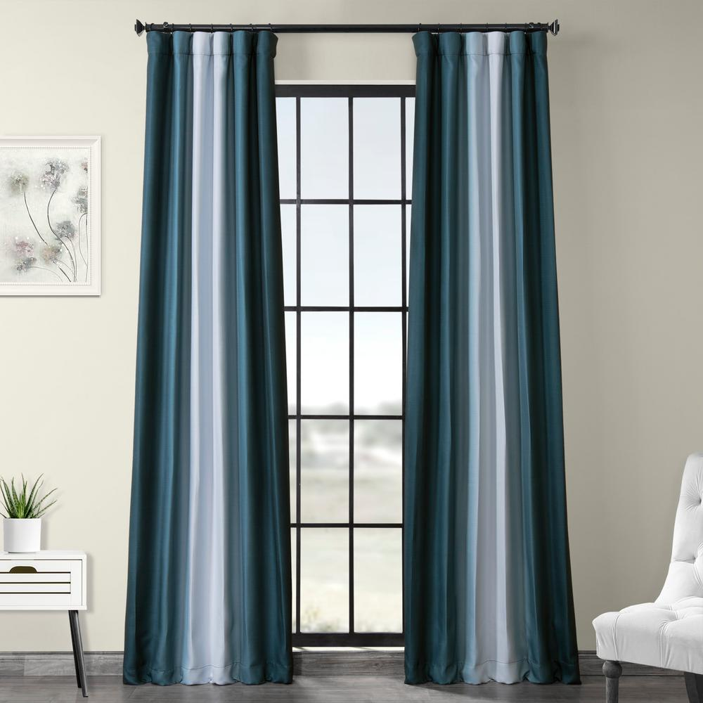 Exclusive Fabrics & Furnishings Parallel Teal Blue Printed Linen Textured Blackout Curtain - 50 in. W x 108 in. L (1-Panel)