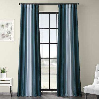 Parallel Teal Blue Printed Linen Textured Blackout Curtain - 50 in. W x 120 in. L (1-Panel)