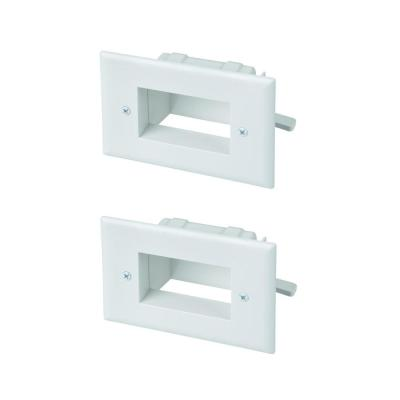 1-Gang Low Voltage Recessed Cable Plate, White (2-Pack)