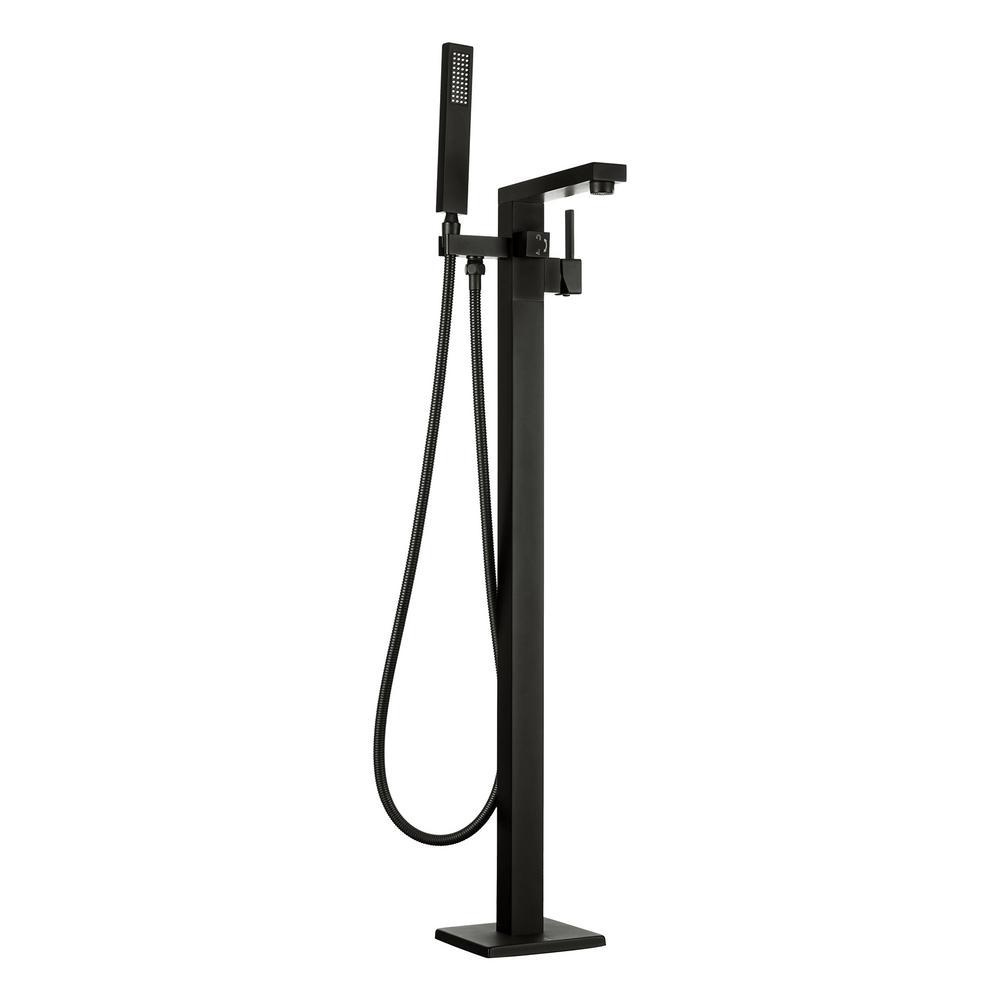 2-Handle Freestanding Floor Mount Roman Tub Faucet Bathtub Filler with Hand Shower in Matte Black