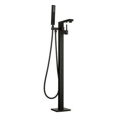 2-Handle Freestanding Floor Mount Roman Tub Faucet Bathtub Filler with Hand Shower in Matte Black