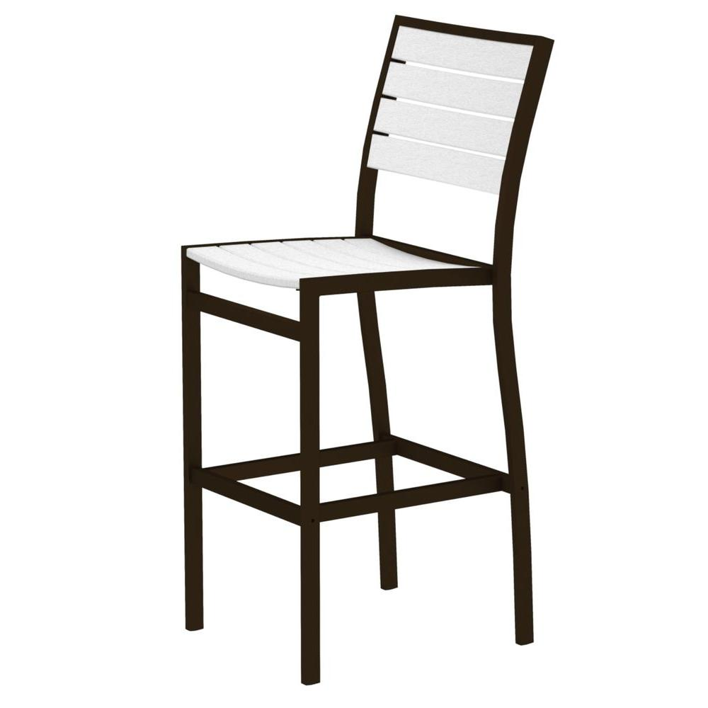 Euro Textured Bronze All-Weather Aluminum/Plastic Outdoor Bar Side Chair in
