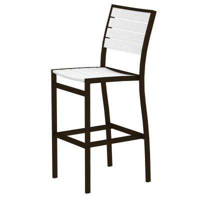 Euro Textured Bronze All-Weather Aluminum/Plastic Outdoor Bar Side Chair in White