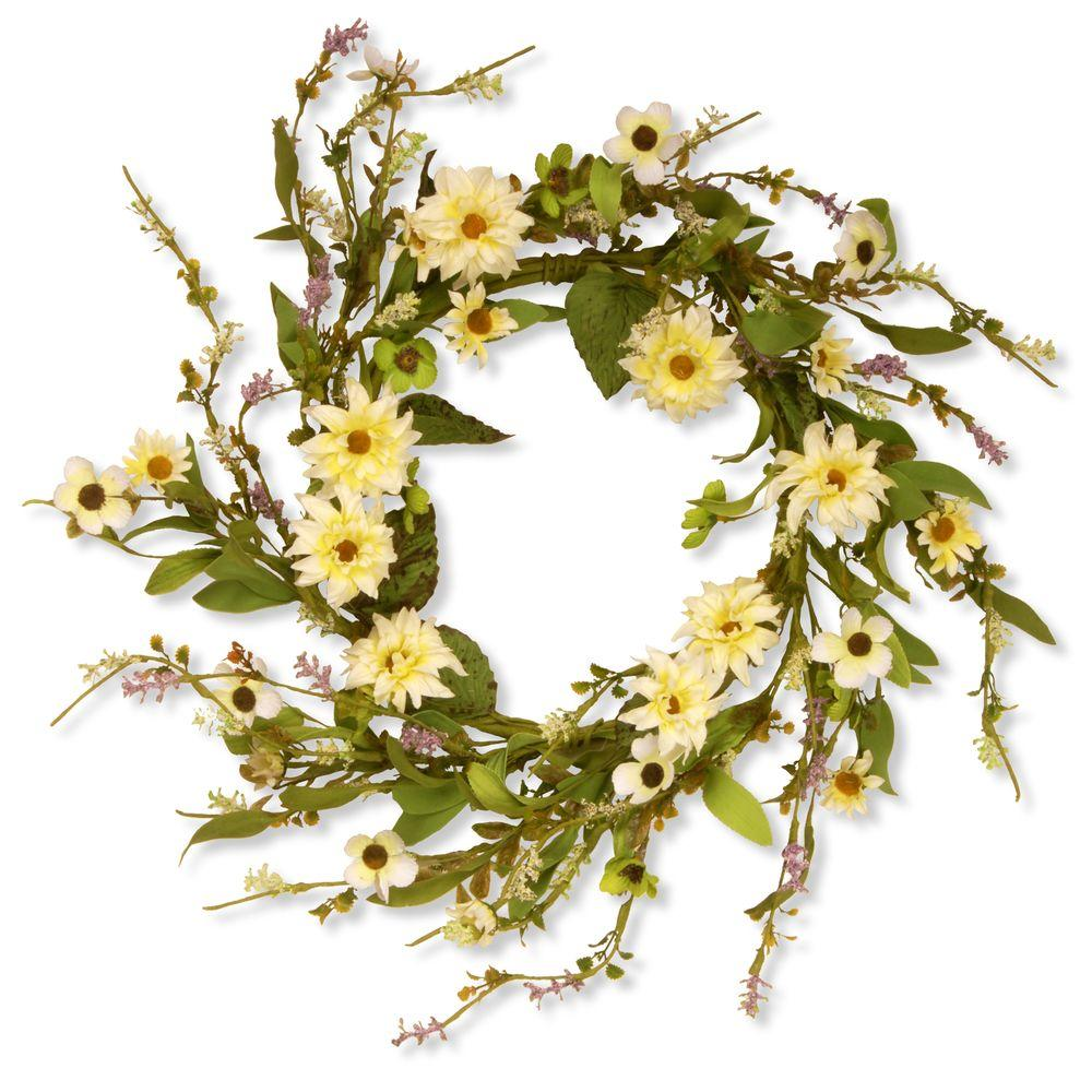 20 in. Garden Accents Yellow Daisy Wreath