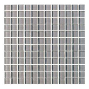 Metro Pebble Gray Grid Mosaic 1 in. x 1 in. Glossy Glass Mesh Mounted Wall Tile (1 Sq. ft.)
