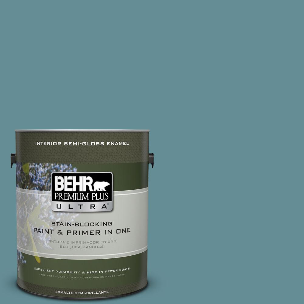 BEHR Premium Plus Ultra 1-gal. #S450-5 Oarsman Blue Semi-Gloss Enamel Interior Paint