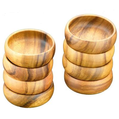 Natural 6 in. Wooden Salad and Pasta Bowl (Set of 8)