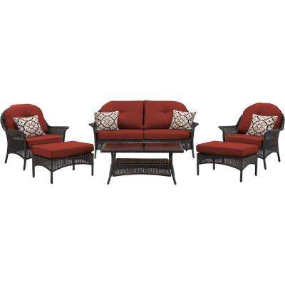 Saros 6-Piece Steel Outdoor Conversation Set with Red Cushions