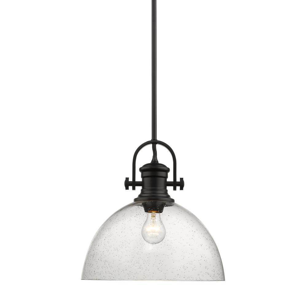 Golden Lighting Hines 1 Light Black And Seeded Gl Pendant