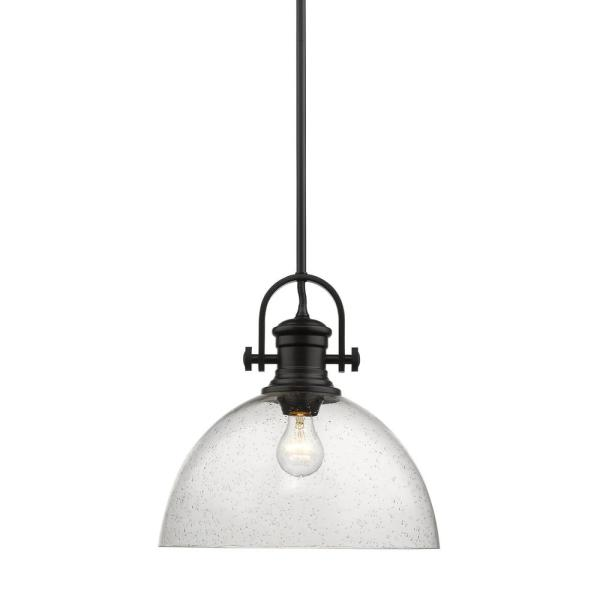 Hines 1-Light Black and Seeded Glass Pendant
