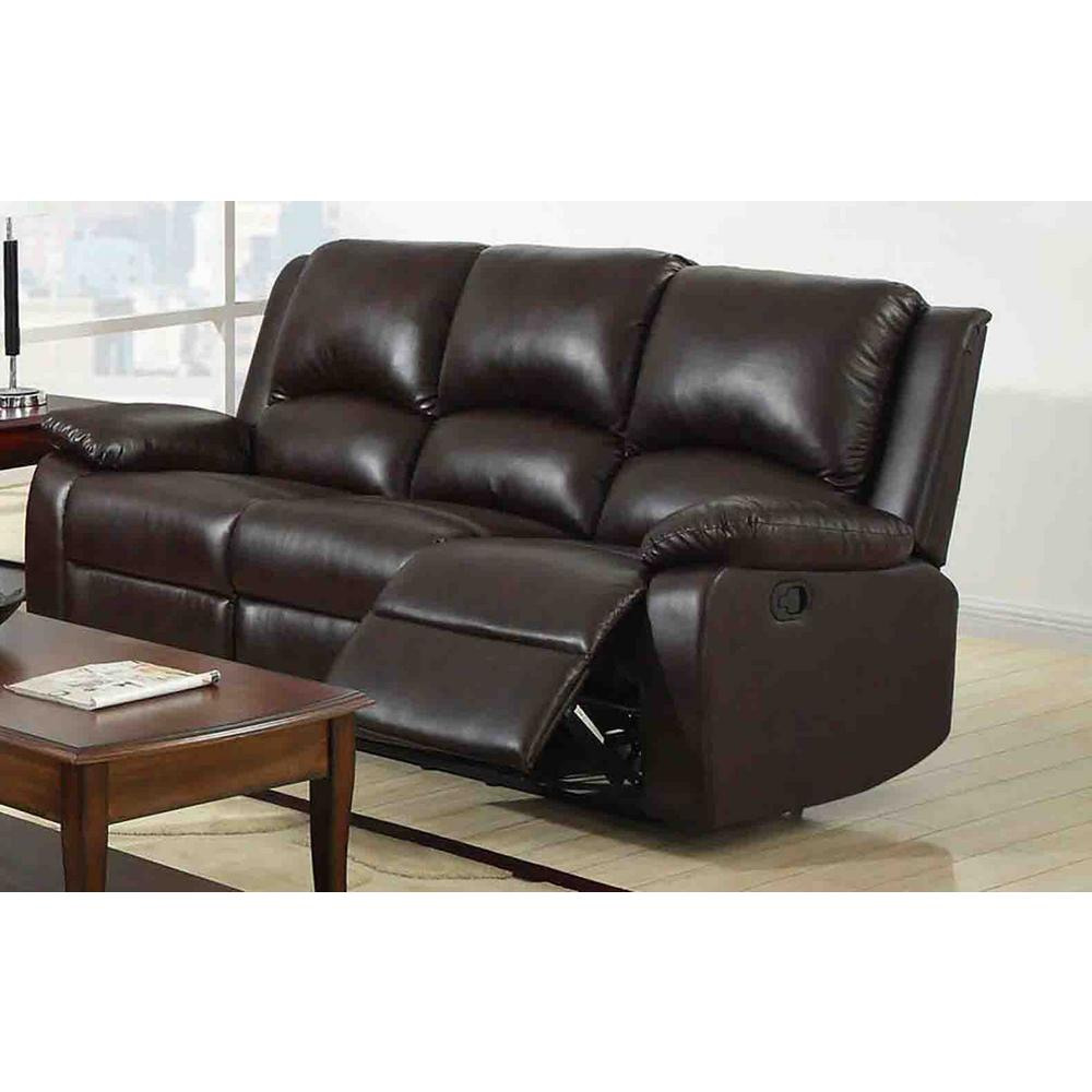 Furniture Of America Oxford Rustic Dark Brown Faux Leather Sofa Cm6555 Sf The Home Depot