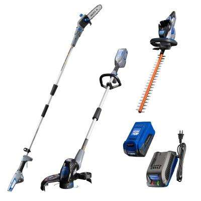 40V String Trimmer, Hedge Trimmer, and Pole Saw with 40V 2.0 Ah Battery and Battery Charger