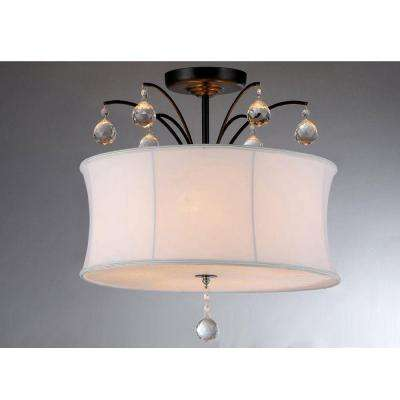 Roxanne 4-Light Brown Ceiling Bronze Crystal Chandelier with Fabric Shade