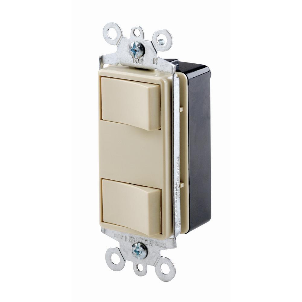 15 Amp Commercial Grade Combination Two Single Pole Illuminated Rocker Switches, Ivory
