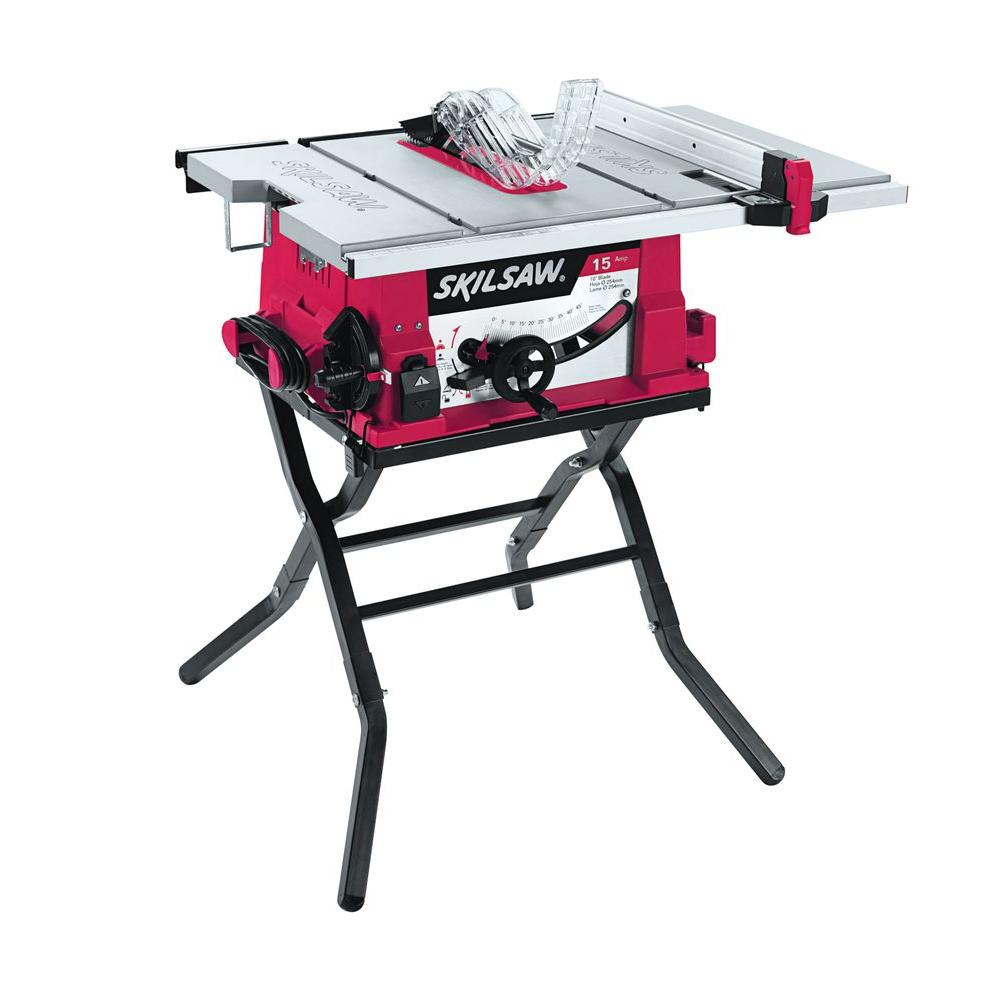 Skil 15 Amp Corded Electric 10 in.Table Saw with Folding Stand ...