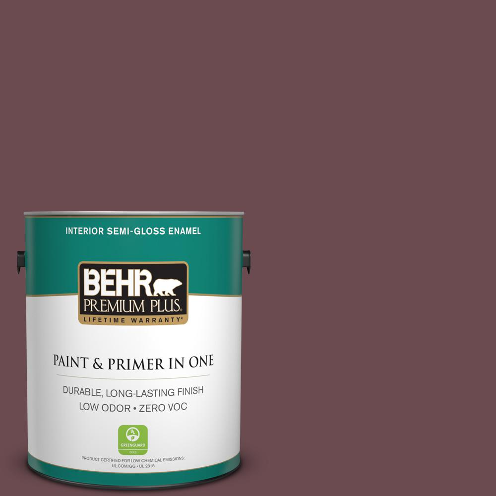 1-gal. #N130-7 Double Fudge Semi-Gloss Enamel Interior Paint