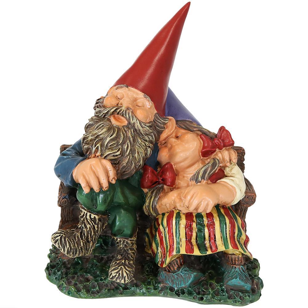 Sunnydaze Decor 8 In. Al And Anita On Bench Gnome Garden Statue
